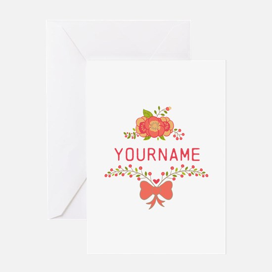 Personalized Name Cute Floral Greeting Card