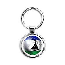 Lesotho Soccer Ball Round Keychain