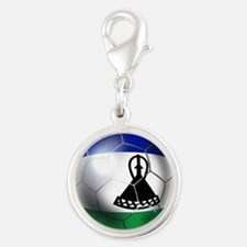 Lesotho Soccer Ball Silver Round Charm