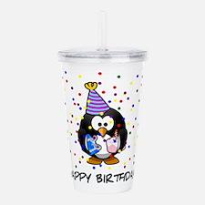 Happy Birthday Penguin Acrylic Double-wall Tumbler