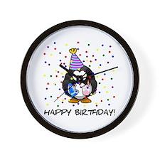 Happy Birthday Penguin Wall Clock