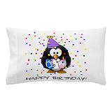 Birthday penguin Pillow Cases