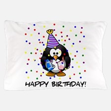 Happy Birthday Penguin Pillow Case