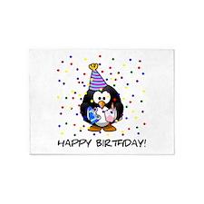 Happy Birthday Penguin 5'x7'Area Rug