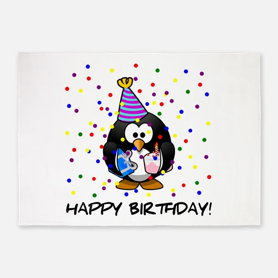 Happy Birthday Penguin 5'x7'Area Rug