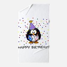 Happy Birthday Penguin Beach Towel