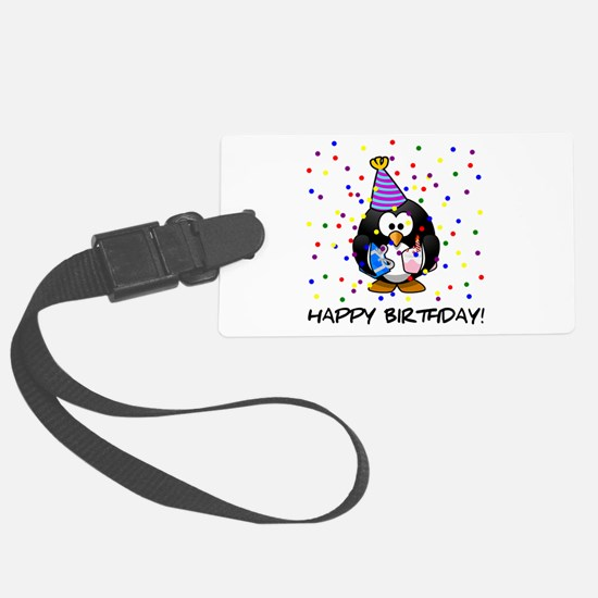 Happy Birthday Penguin Large Luggage Tag