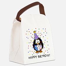 Happy Birthday Penguin Canvas Lunch Bag