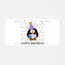 Happy Birthday Penguin Aluminum License Plate