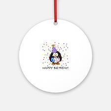 Happy Birthday Penguin Ornament (Round)