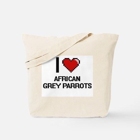 I love African Grey Parrots Digital Desig Tote Bag