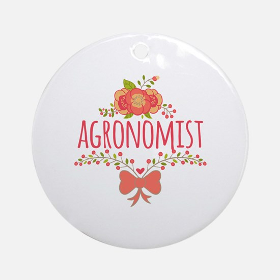 Cute Floral Occupation Agronomist Ornament (Round)