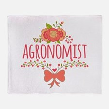 Cute Floral Occupation Agronomist Throw Blanket