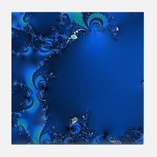Blue Glory Fractal Tile Coaster