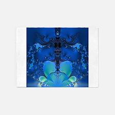 Blue Glory Fractal 5'x7'Area Rug