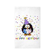 Birthday Penguin Area Rug
