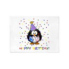 Birthday Penguin 5'x7'Area Rug