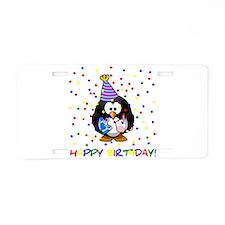 Birthday Penguin Aluminum License Plate