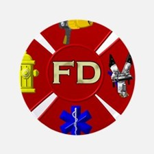 """Fire department symbol 3.5"""" Button (100 pack)"""