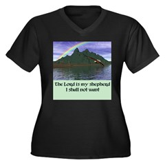 The Lord is Women's Plus Size V-Neck Dark T-Shirt
