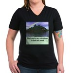 The Lord is My Shep - Women's V-Neck Dark T-Shirt