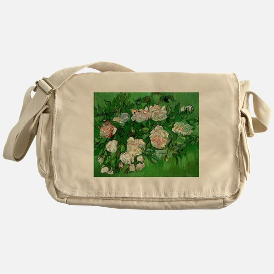 Pink Roses by Vincent van Gogh Messenger Bag
