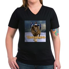 Lion of Judah - Women's V-Neck Dark T-Shirt