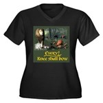 EveryKnee Women's Plus Size V-Neck Dark T-Shirt