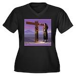 Crossroads Women's Plus Size V-Neck Dark T-Shirt
