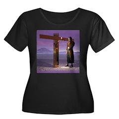 Crossrds Women's Plus Size Scoop Neck Dark T-Shirt
