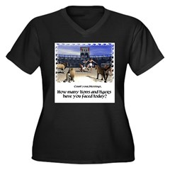 The Coliseum Women's Plus Size V-Neck Dark T-Shirt
