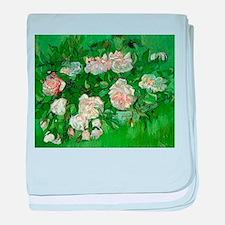 Pink Roses by Vincent van Gogh baby blanket