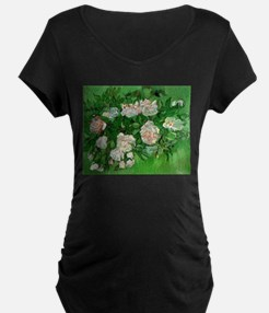 Pink Roses by Vincent van Gogh Maternity T-Shirt