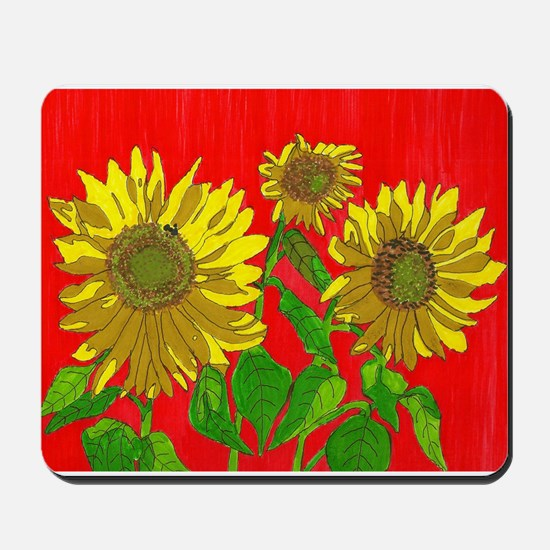 Sunflowers on Red Mousepad
