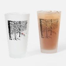 Cardinal Snow Scene Drinking Glass