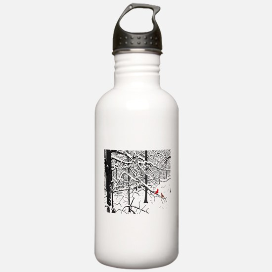 Cardinal Snow Scene Water Bottle
