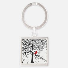 Cardinal Snow Scene Keychains