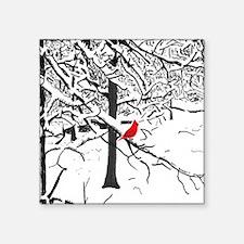 Cardinal Snow Scene Sticker