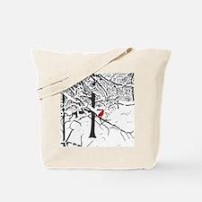 Cardinal Snow Scene Tote Bag