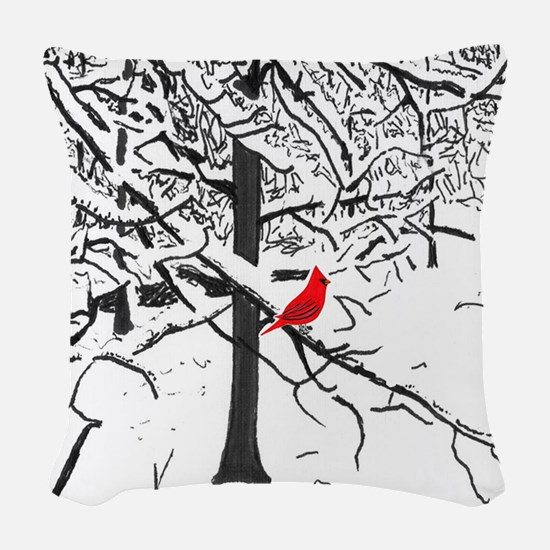 Cardinal Snow Scene Woven Throw Pillow