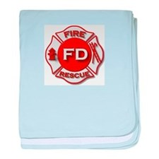 Fire department symbol red baby blanket