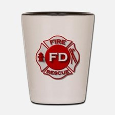 Fire department symbol red Shot Glass