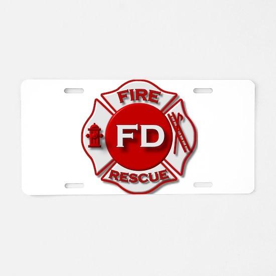 Fire department symbol red Aluminum License Plate