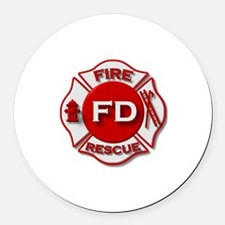 Fire department symbol red Round Car Magnet
