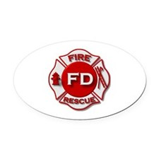 Fire department symbol red Oval Car Magnet