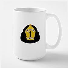 Black fire services helmet Mugs