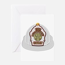 White fire chief helmet Greeting Cards