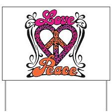 LOVE PEACE Heart Design Yard Sign