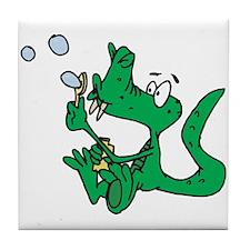 Cute Crocodile Blowing Bubbles Tile Coaster