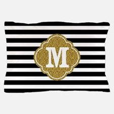 Mod Black White Stripes Pattern Gold Mongram Pillo